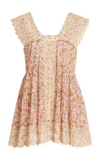 Paisley Lace-Trimmed Cotton Top
