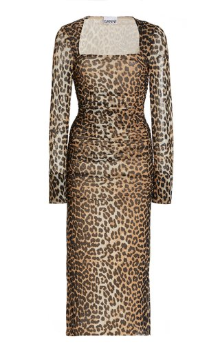 Ruched Leopard-Print Mesh Midi Dress
