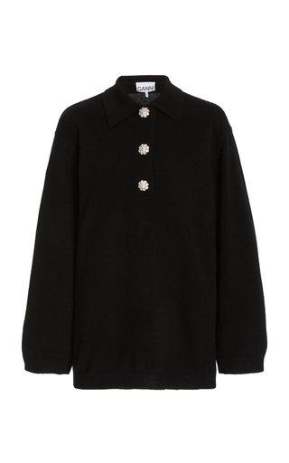 Oversized Crystal-Embellished Cashmere Polo Sweater
