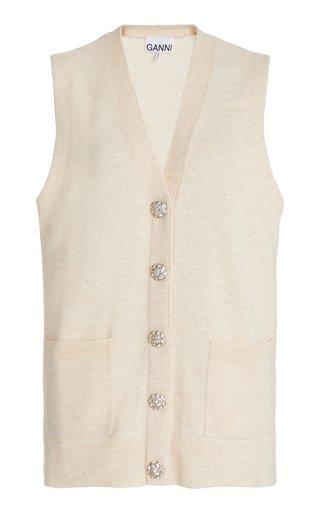 Crystal-Embellished Cashmere Vest