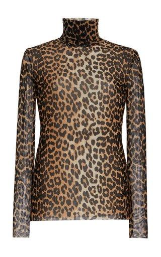 Leopard-Print Mesh Turtleneck Top
