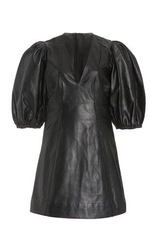 Puff-Sleeve Leather Mini Dress
