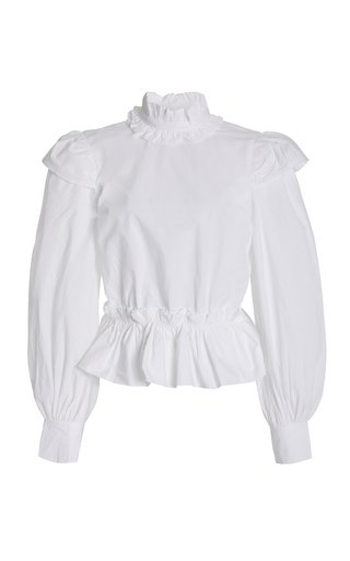 Ruffled Organic Cotton Poplin Crop Top
