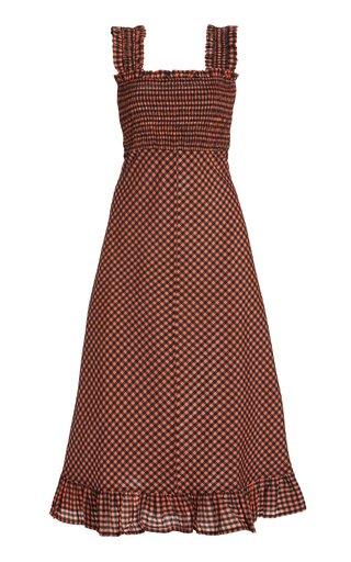 Gingham Seersucker Midi Dress