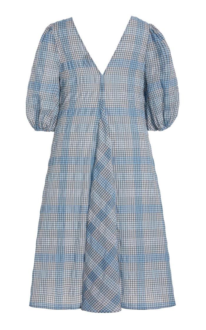 Puff-Sleeve Checked Seersucker Midi Dress
