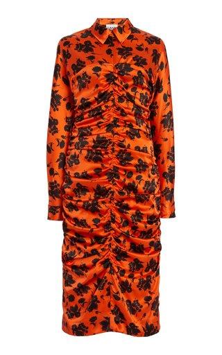 Ruched Floral Silk Satin Midi Shirt Dress