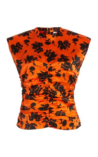 Ruched Floral Stretch-Silk Top