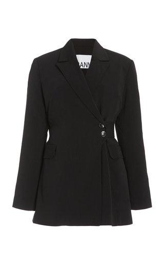 Belted Melange Suiting Blazer