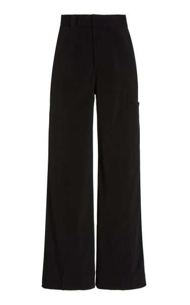 Melange Suiting Wide-Leg Trousers