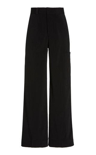 Melange Suiting Wide-Leg Trousers