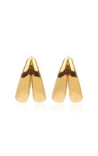 Large 1930 18K Gold Vermeil Double-Hoop Earrings