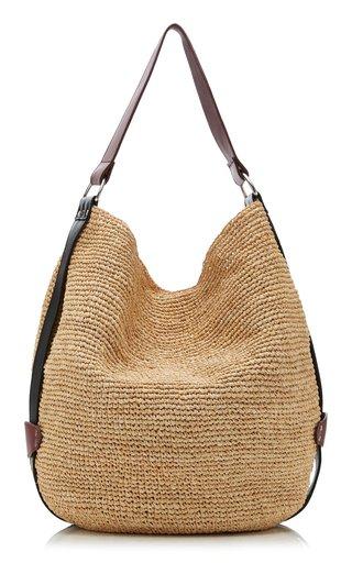 Bayia Leather-Trimmed Raffia Shoulder Bag