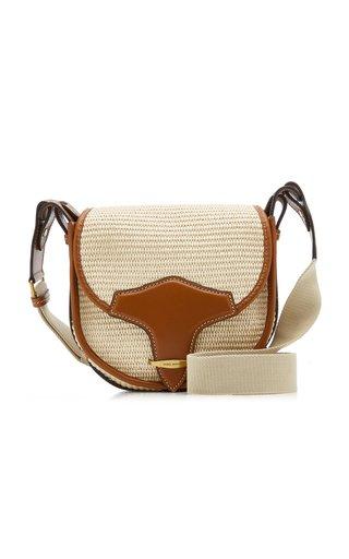 Botsy Leather-Trimmed Raffia Crossbody Bag
