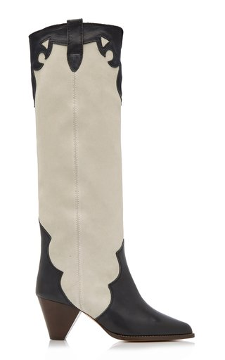 Litz Leather-Trimmed Suede Tall Boot