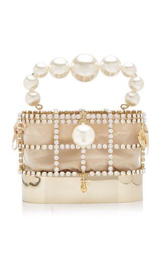 Holli Hide and Seek Crystal-Embellished Brass Mini Bag