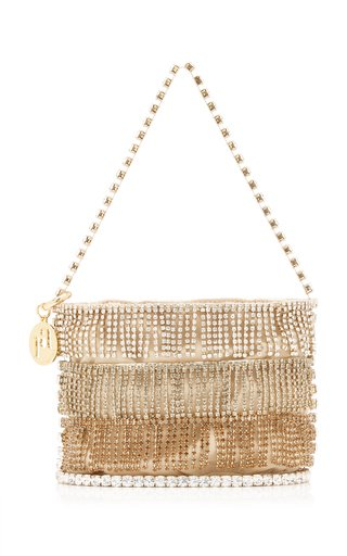 Ginger Mini Crystal-Fringed Brass Bag