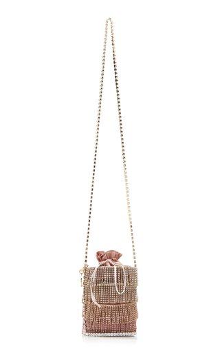 Ginger Crystal-Embellished Satin Bucket Bag