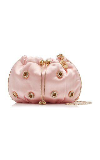 Mini Edith Crystal-Embellished Satin Drawstring Bag