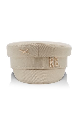 Pearl-Embellished Cotton Baker Boy Cap