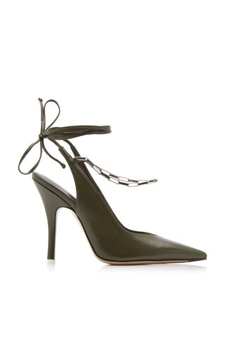 Venus Leather Pumps With Chain Anklet