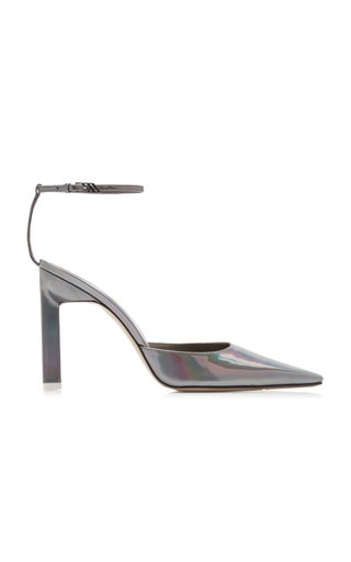 Amber Mirrored Iridescent Steel Leather Pumps