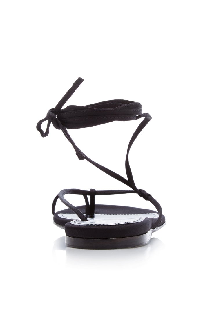 Kika Lace-Up Satin Thong Sandals