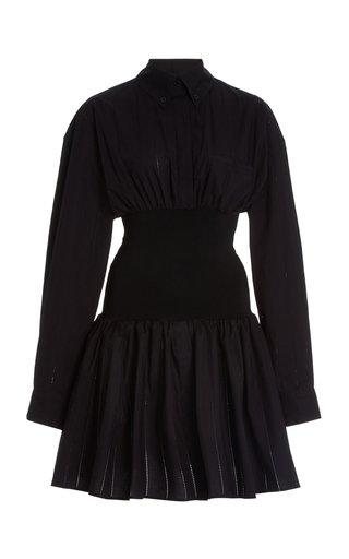 Pointelle-Trimmed Cotton Shirt Dress