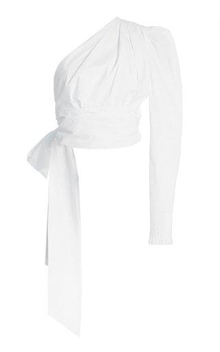Asymmetric Cotton-Poplin Wrap Top