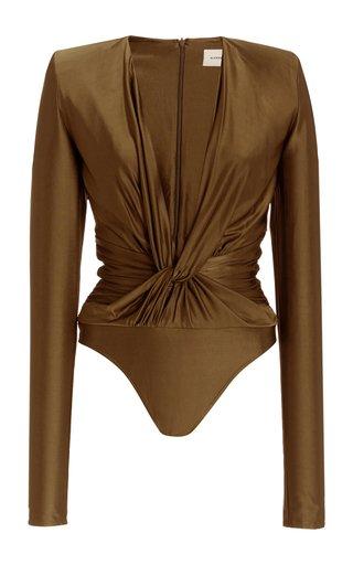 Twist-Accented Stretch Satin Bodysuit