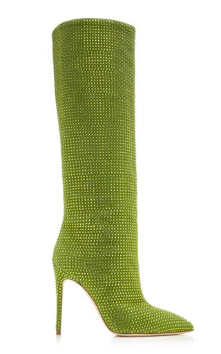 Holly Crystal-Embellished Suede Knee Boots