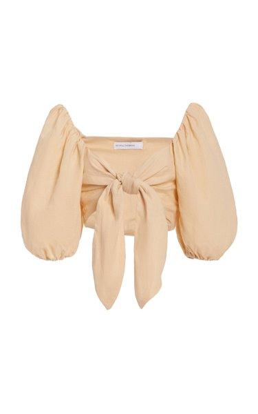 Idrissy Tie-Front Linen Crop Top