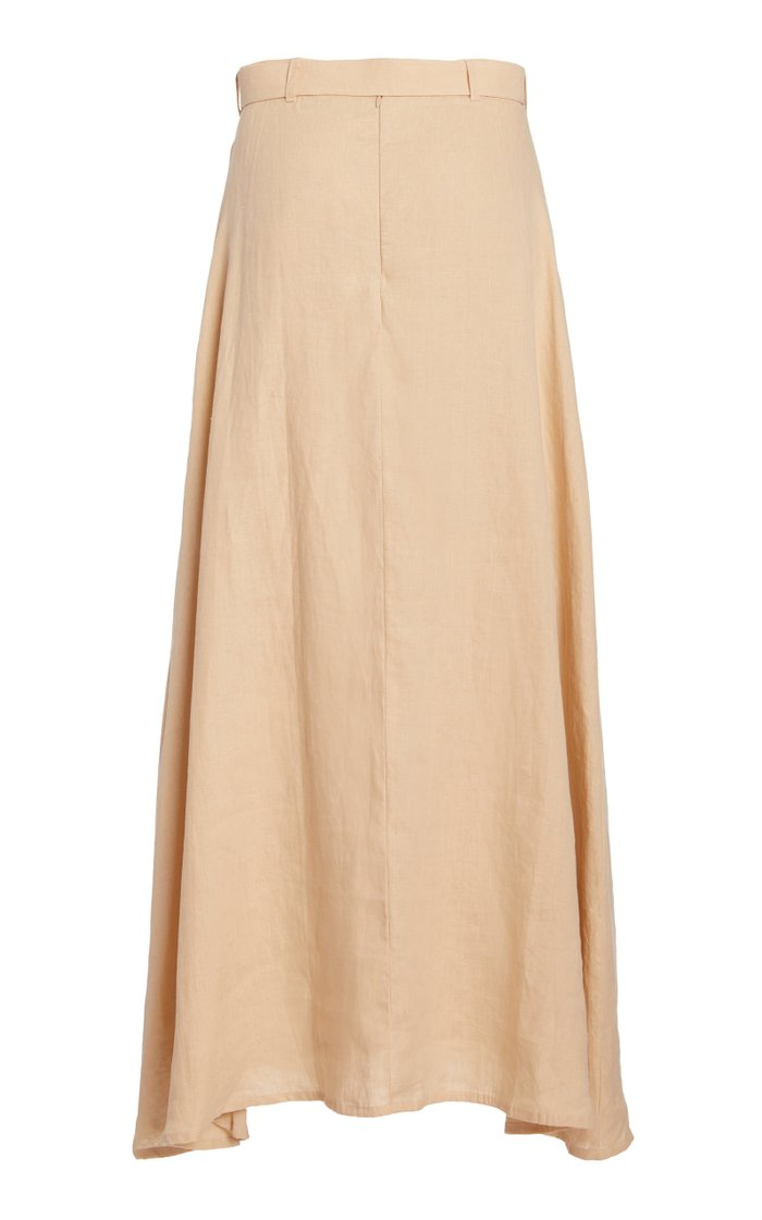 Devon Belted Linen Midi Skirt