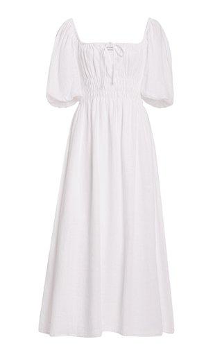 Maurelle Puff-Sleeve Linen Midi Dress