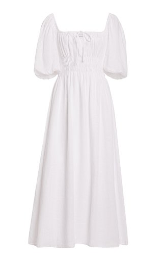 Maurelle Puff-Sleeve Linen Midi Dress