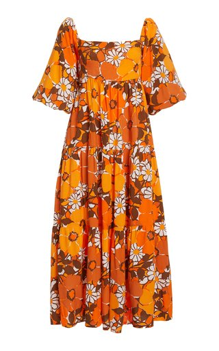 Kiona Puff-Sleeve Tiered Midi Dress