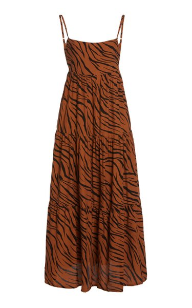 Corvina Tiger-Print Crepe Tiered Midi Dress