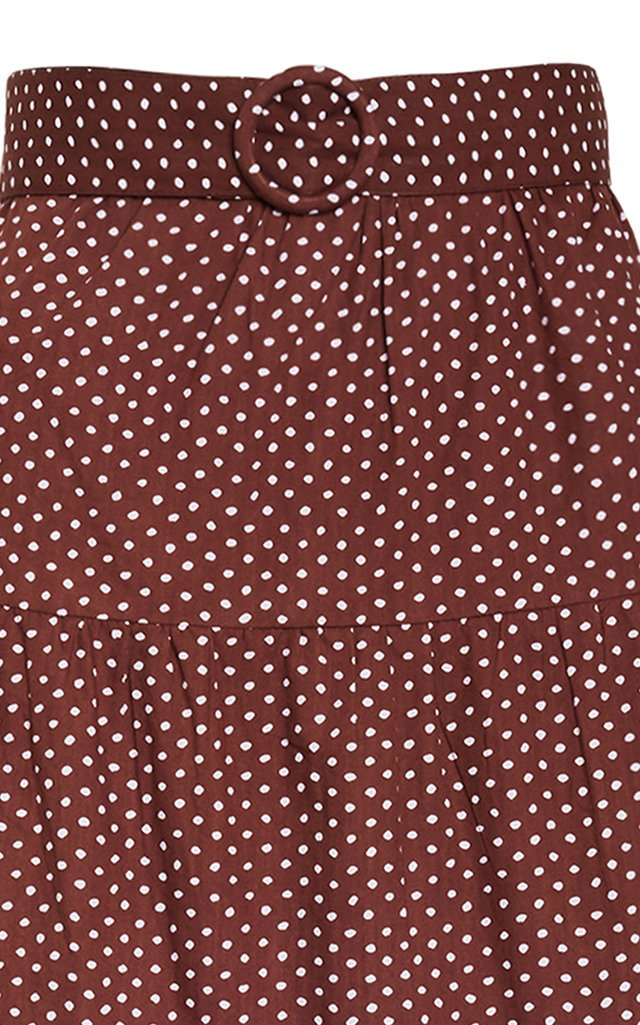 Farida Polka-Dot Cotton Poplin Tiered Midi Skirt