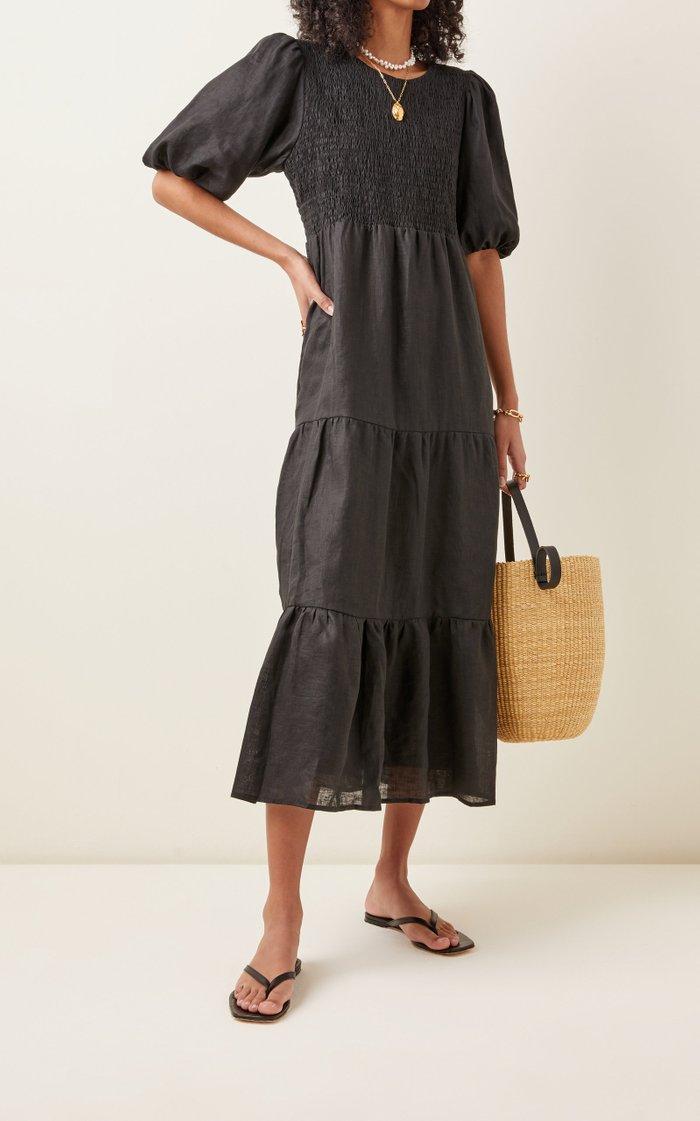 Alberte Smocked Linen Midi Dress