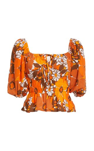 Liberia Smocked Floral Jersey Top