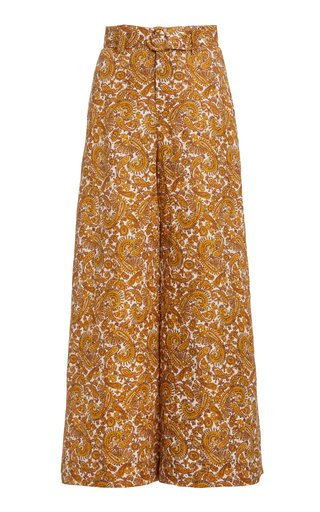 Manuela Belted Paisley Linen Wide-Leg Trousers