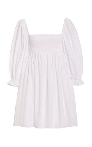 Arles Smocked Cotton Poplin Mini Dress