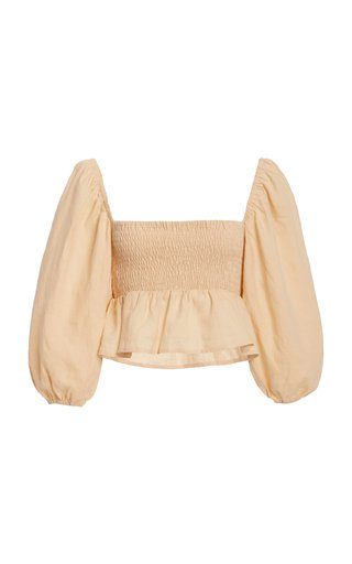 Vivica Smocked Linen Crop Top