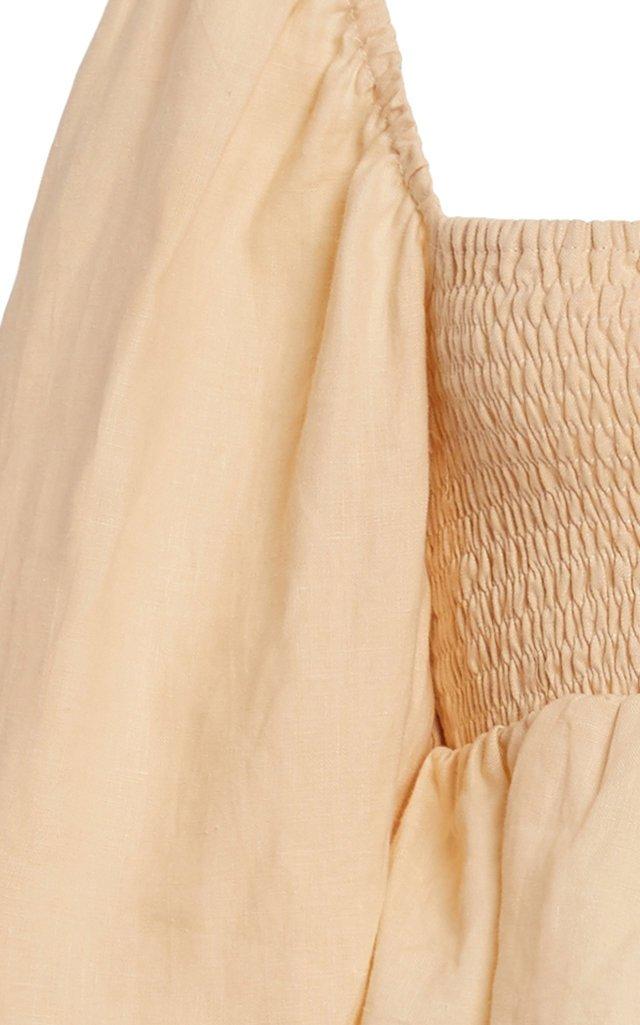 Vivica Smocked Linen Crop Top