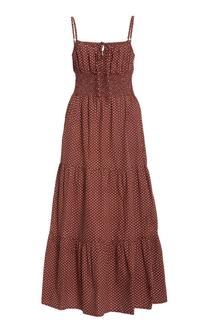 Canyon Polka-Dot Cotton-Poplin Midi Dress