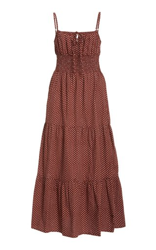 Canyon Polka-Dot Cotton-Poplin Midi Dress