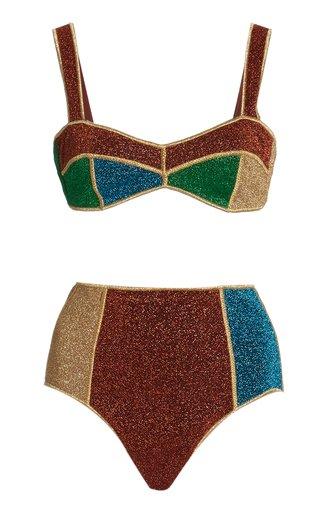 Lumière Metallic Colorblock High-Rise Bikini