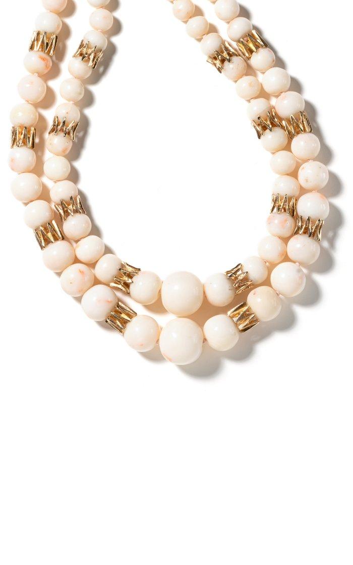 Van Cleef & Arpels 18K Yellow Gold & Angel Skin Coral Beaded Necklace