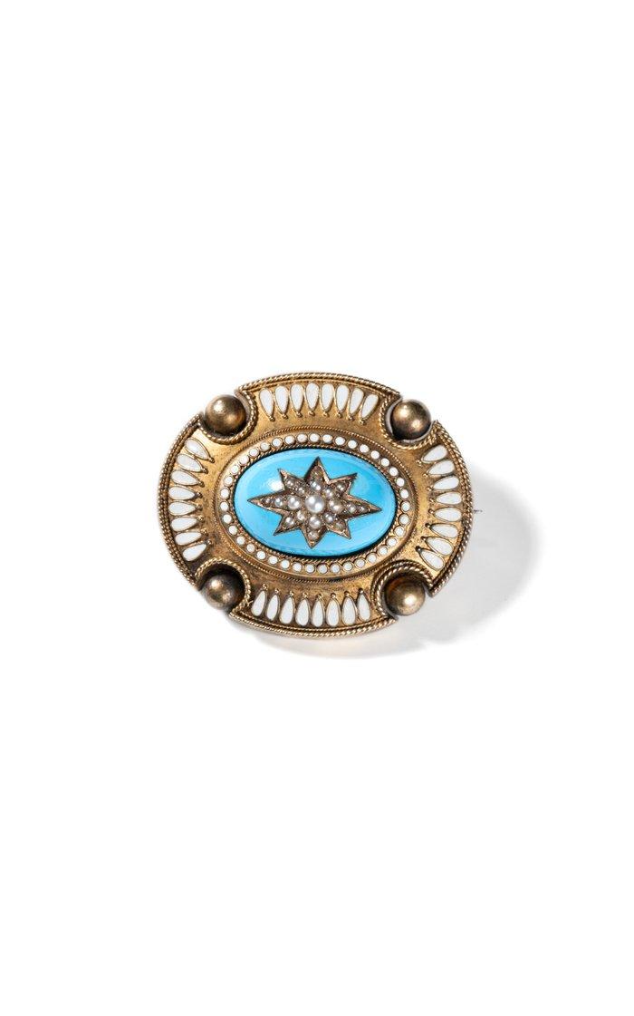 10k Yellow Gold Victorian Pearl Star Pin