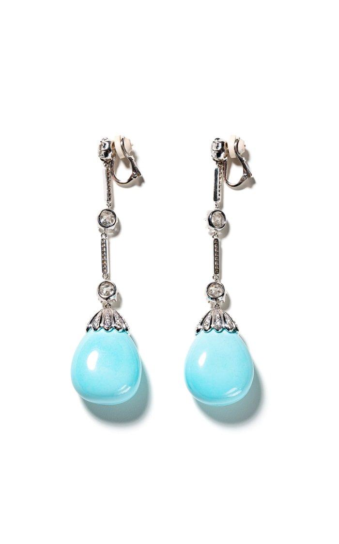 18K White Gold Fred Leighton Diamond & Turquoise Drop Earrings