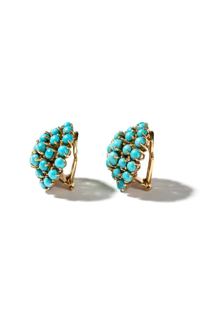 Vintage 18K Yellow Gold and Turquoise Ear Clips